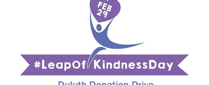 Leap of Kindness Day Duluth Donation Drive Logo