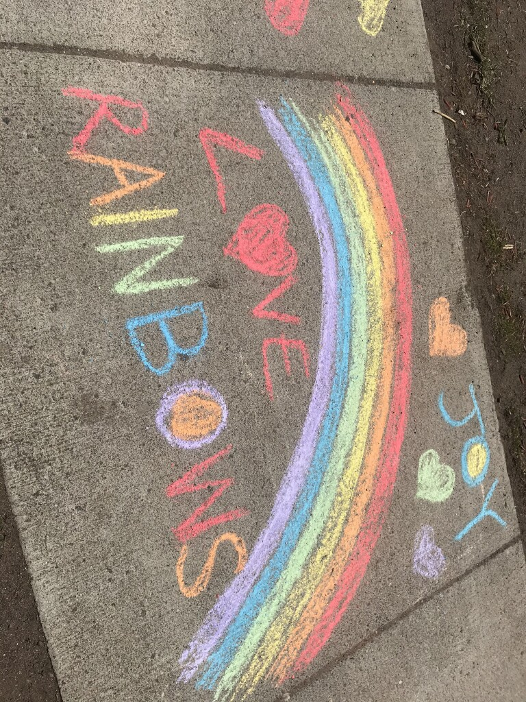 Project Party Picture sidewalk chalk rainbow
